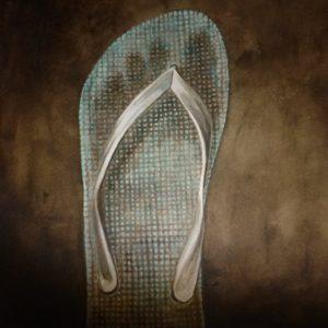 chancletta blue flip flop